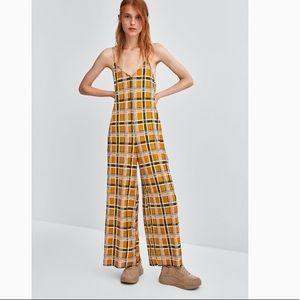 Zara Yellow Check Flowy Jimpsuit